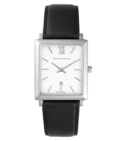 LARSSON & JENNINGS LJ-W-NRS-SW40 Norse black leather watch (White