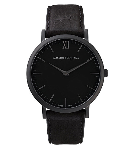 LARSSON & JENNINGS Lader Svart large black-plated and leather watch 40mm (Black