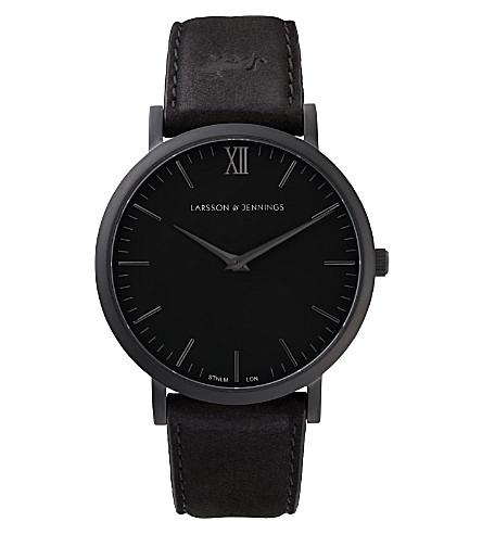LARSSON & JENNINGS 雷德 Svart 大黑镀和皮革手表 40mm (黑色