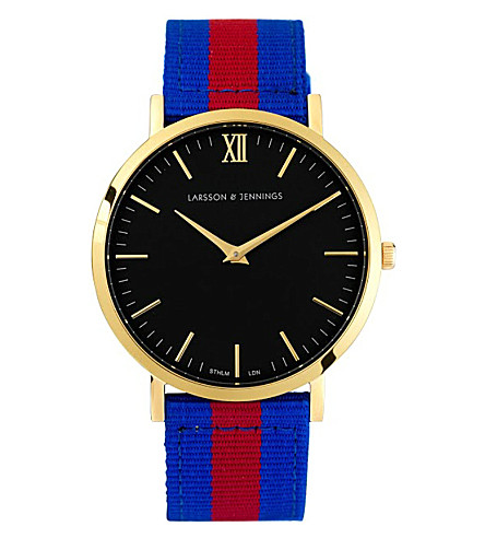 LARSSON & JENNINGS Kulor Windsor large gold-plated watch 40mm (Blue+red