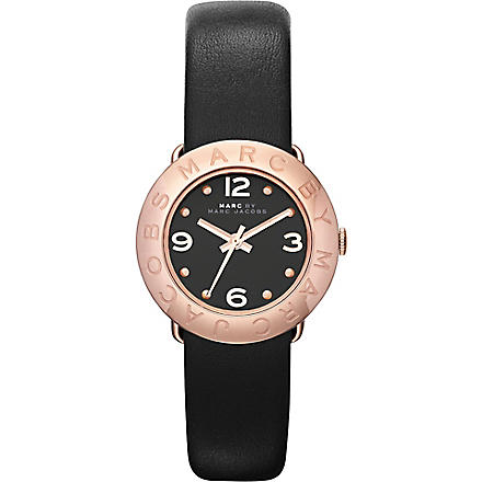 MARC BY MARC JACOBS MBM1227 rose gold-toned leather watch (Black