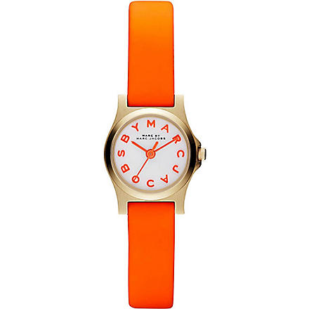 MARC BY MARC JACOBS MBM1236 Dinky Henry PVD gold-plated and rubber watch (White