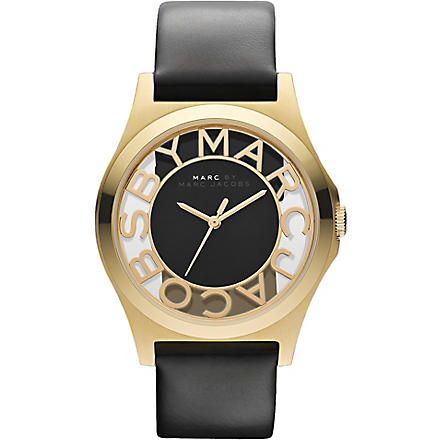 MARC BY MARC JACOBS MBM1246 Henry stainless steel and leather watch (Black