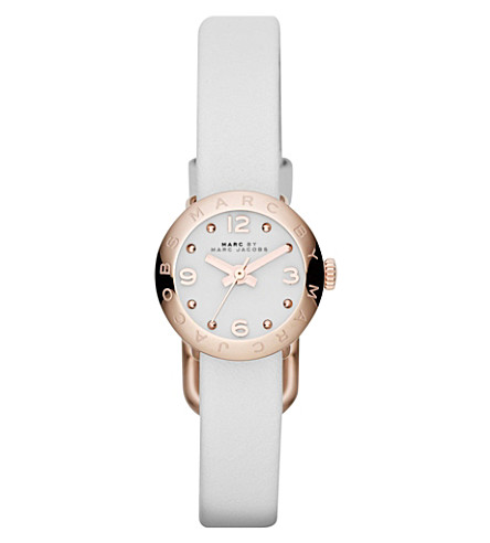 MARC JACOBS MBM1250 rose gold-toned leather watch (White