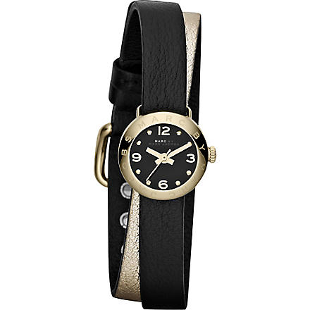 MARC BY MARC JACOBS MBM1257 Amy gold-toned leather watch (Black