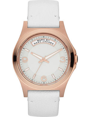 MARC BY MARC JACOBS MBM1260 Baby Dave rose gold-toned leather watch