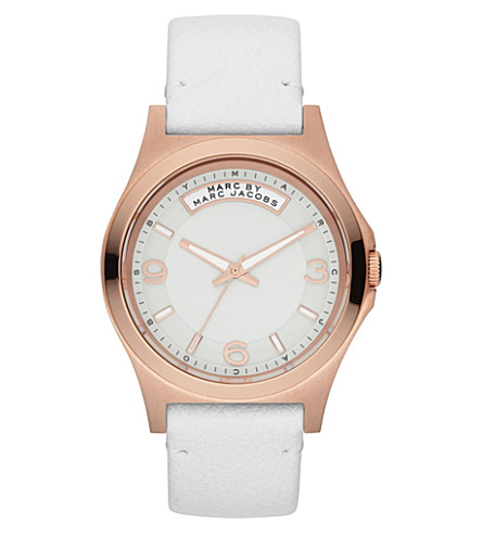 MARC BY MARC JACOBS MBM1260 Baby Dave rose gold-toned leather watch (Gold