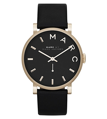 MARC JACOBS MBM1269 Baker yellow gold-plated and leather watch (Black