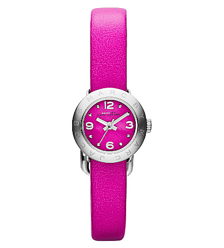 MARC BY MARC JACOBS MBM1288 Amy silver-toned leather watch (Pink