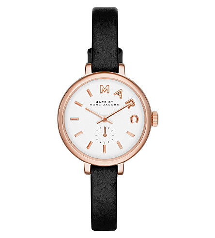 MARC JACOBS mbm1352 Sally rose gold-plated and leather watch (White