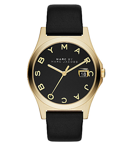 MARC JACOBS Mbm1357 yellow gold-plated and leather ladies watch (Black
