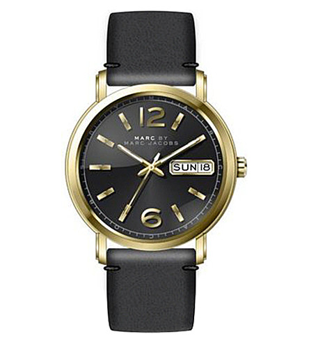 MARC JACOBS MBM1388 Fergus stainless steel and leather watch (Black