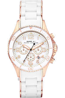 MARC BY MARC JACOBS MBM2547 Rock rose gold-plated and silicone chronograph watch