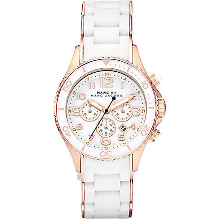 MARC BY MARC JACOBS MBM2547 Rock rose gold-plated and silicone chronograph watch (White