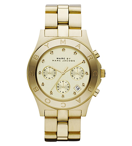 MARC JACOBS MBM3101 blade stainless steel chronograph watch (Gold