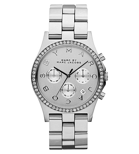 MARC JACOBS Henry glitz silver-toned watch (Silver