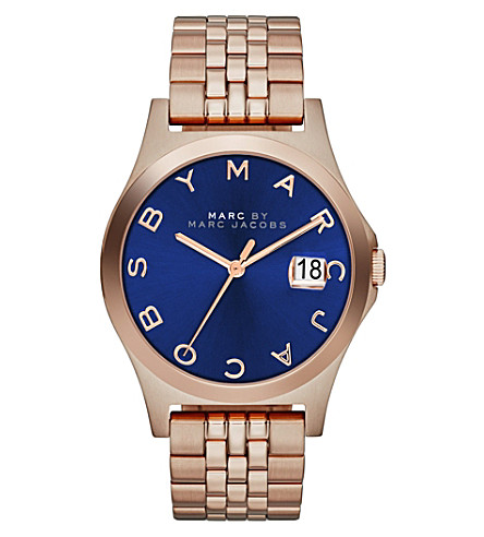MARC JACOBS MBM3316 The Slim rose gold-toned PVD watch (Blue