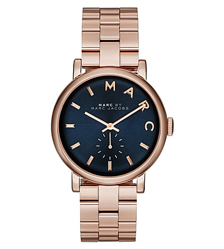 MARC JACOBS MBM3330 Baker rose gold-toned PVD watch (Blue