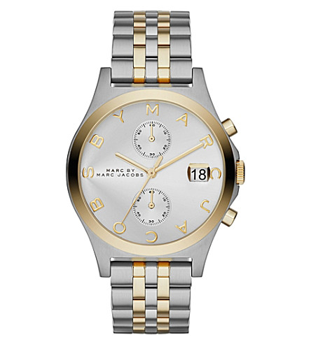 marc mbm3381 slim chronograph gold plated