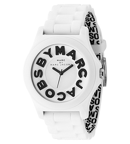 MARC BY MARC JACOBS White unisex logo watch (White