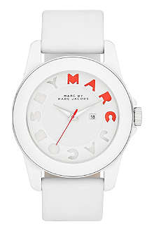 MARC BY MARC JACOBS MBM4010 Icon Stripe silicone and leather watch