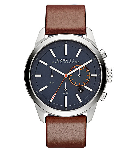 MARC JACOBS MBM5094 Dillon stainless steel and leather watch (Blue