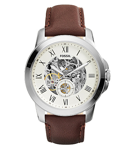 FOSSIL ME3052 Grant stainless steel and leather watch (Cream