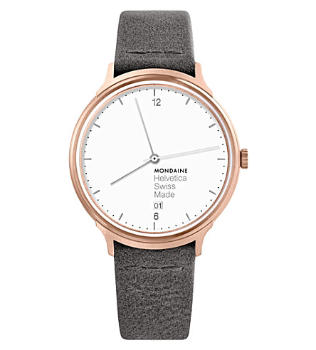 MH1-L2210-LH Helvetica No1 Light leather and IP rose-gold stainless steel watch
