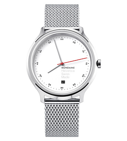 MONDAINE MH1-R2211-SM Helvetica Spiekermann Edition Regular stainless steel watch