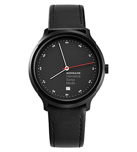 MONDAINE MH1-R2223-LB Helvetica Spiekermann Edition Regular leather and black IP stainless steel watch
