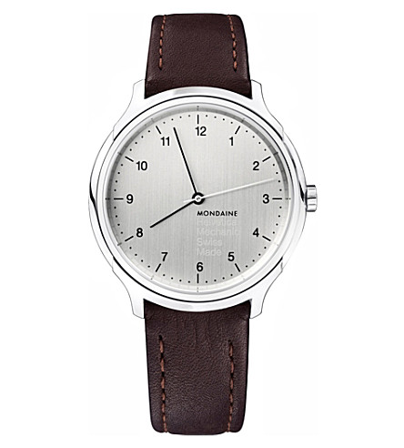 MONDAINE MH1.R3610.LG Helvetica stainless steel and leather watch