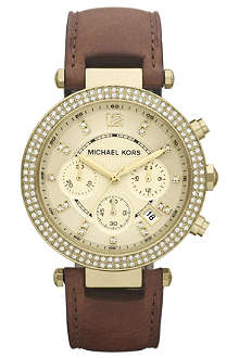 MICHAEL KORS MK2249 Parker gold-plated and leather chronograph watch