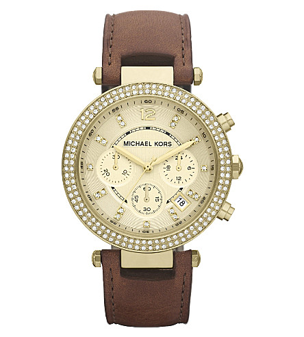 MICHAEL KORS MK2249 Parker gold-plated and leather chronograph watch (Brown