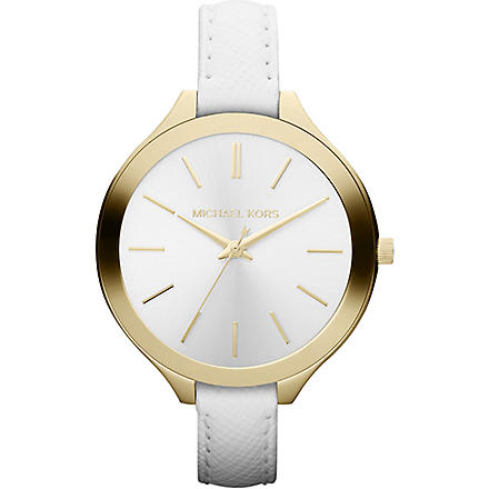 MICHAEL KORS Mk2273 gold-plated and leather watch (White