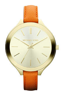 MICHAEL KORS Mk2275 gold-plated and leather watch