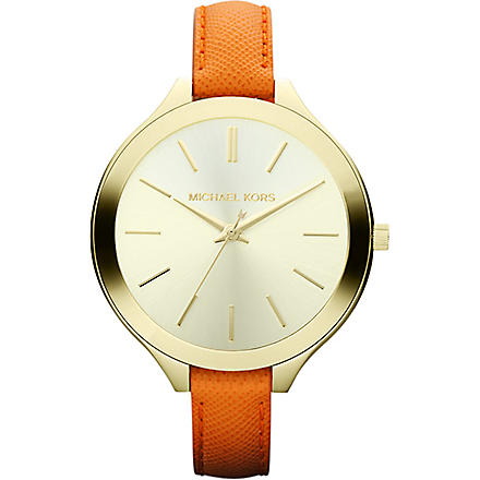 MICHAEL KORS Mk2275 gold-plated and leather watch (Gold