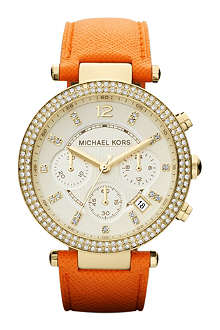 MICHAEL KORS MK2279 Parker gold-plated and leather chronograph watch
