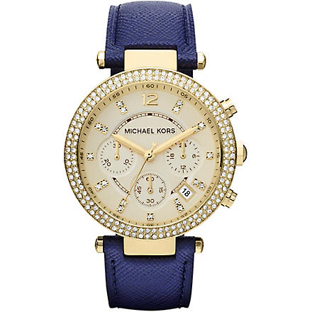 MICHAEL KORS Mk2280 gold-plated and leather chronograph watch (Gold