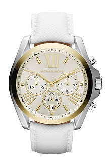 MICHAEL KORS Mk2282 stainless steel and leather chronograph watch