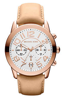 MICHAEL KORS Mk2283 rose gold-plated and leather chronograph watch
