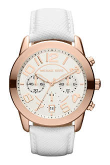 MICHAEL KORS MK2289 Mercer rose gold-plated and leather chronograph watch
