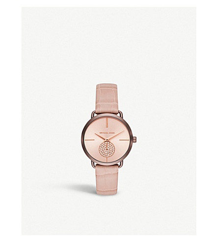 MICHAEL KORS MK2721 Portia rose gold-toned stainless steel and leather watch