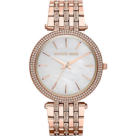 MICHAEL KORS MK3220 Darci rose gold-toned stainless steel watch (White