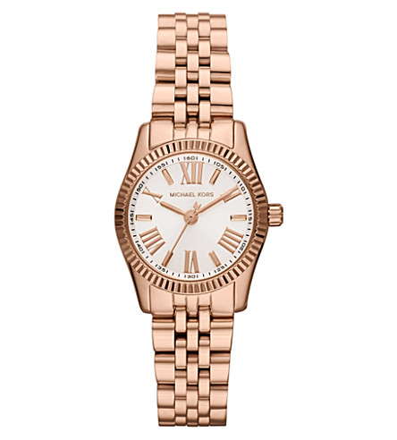 MICHAEL KORS MK3230 Lexington rose gold chronograph watch (White