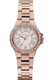 MICHAEL KORS Jewel-encrusted rose gold-toned watch