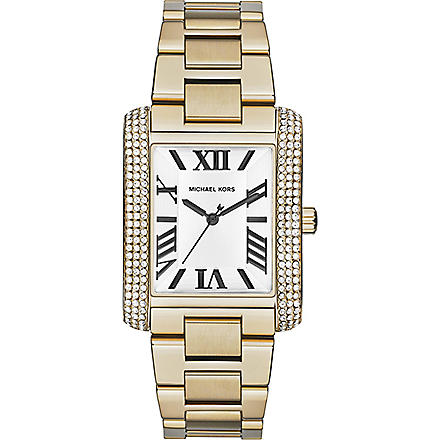 MICHAEL KORS Jewel-encrusted square watch (White
