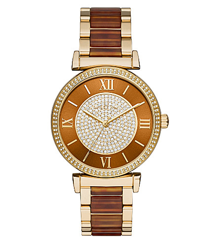 MICHAEL KORS MK3411 Catlin gold-plated stainless steel watch (Brown