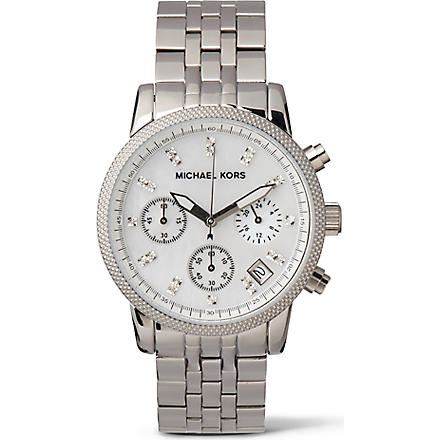 MICHAEL KORS MK5020 diamond-dot stainless steel chronograph watch (Silver