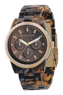 MICHAEL KORS MK5038 gold-plated and tortoiseshell acrylic chronograph watch