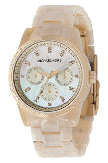 MICHAEL KORS MK5039 gold-plated and horn-effect acrylic chronograph watch